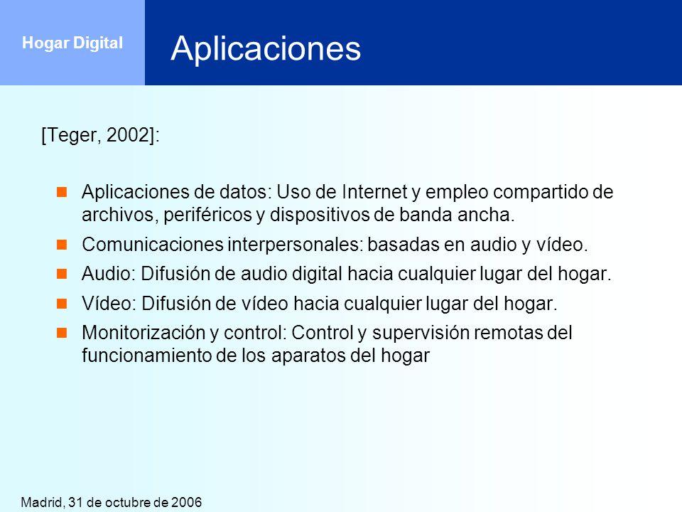 Aplicaciones [Teger, 2002]: